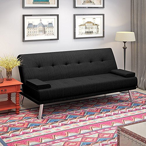 Linen Fabric Sofa Bed 2 to 3 Seater Modern Sleeper Couch Double Padded with 2 Cushions for Lounge Living Room Black