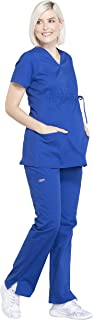 Workwear Professionals Women's Maternity Scrub Set - WW685 Mock Wrap Top & WW220 Straight Leg Pant