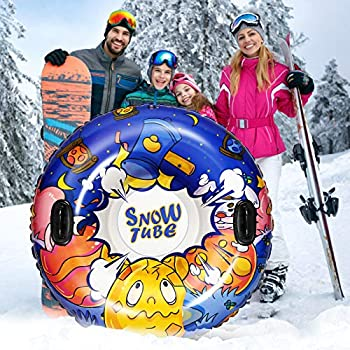 efubaby Snow Tube Sled for Kids 47 Inch Large & 0.6mm Thick Kids Inflatable Sled Inflatable Tube Heavy Duty Inflatable Snow Tubes with 2 Handles Kids Snow Toys for Winter Snow Outdoor Activity