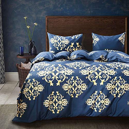 Cozyholy Luxury Royal style Duvet Cover Baroque Design Comforter Cover Vintage Bohemian Set Ultra Soft Zipper Colsure, 3 Pieces Bedding Set (Queen, Navy blue - luxury golden Baroque pattern)