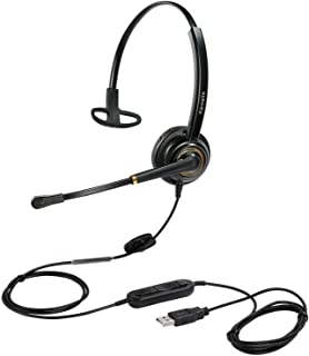 USB Headset with Microphone Noise Cancelling and Volume Controls, Computer Headphone Headset with Voice Recognition Mic fo...