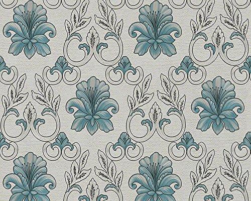 A.S. Création Tapete Hermitage 9, Streifentapete, klassisch, barock, seidengrau, granitgrau, pastelltürkis, silberfarben, metallic, 943461