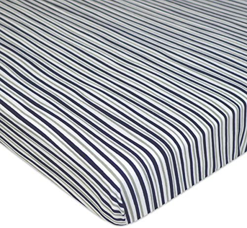 American Baby Company Printed 100 Cotton Jersey Knit Fitted Portable Mini Crib Sheet Navy Grey product image
