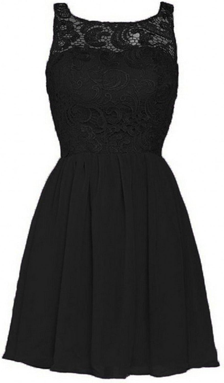 AK Beauty Sleeveless Lace Mini Evening Prom Dress Black US16