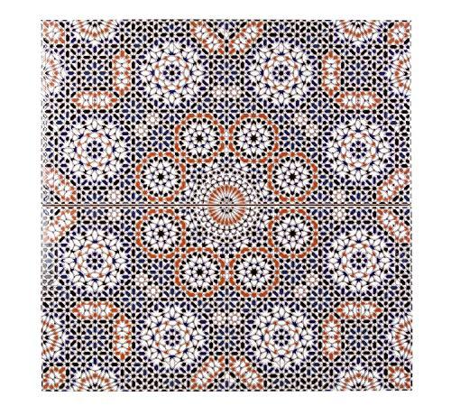 Cerames Marokkanische Wandfliesen Keramikfliese orientalisch Bandar | 25 x 50 cm 1m² | Mosaik-Muster, maurische Fliese | Schöne Dekoration im Bad & Küchenrückwand