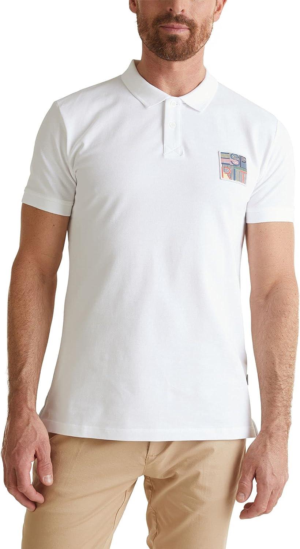 Esprit Men's Organic Cotton Pique Polo T-Shirt Regular Fit Ανδρικο White in Size XXL