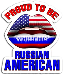 Hand Wooden Customizable Sticker Proud to Be Russian American Stickers for Personalize (3 pcs/Pack)
