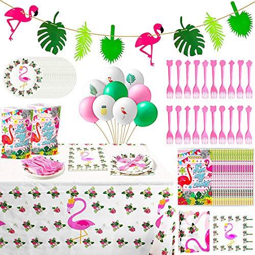 WATINC 123Pcs Tropical Hawaiian Flamingo Party Dekoration, Palm Blätter Flamingo Banner Luftballons Geschenktüten Teller Servietten Tischdecke Rosa Gabeln Party Deko für Tropischen Hochzeit Geburtstag