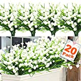 20 Bundles Artificial Flowers for Outdoor Decoration, UV Resistant Faux Outdoor Plastic Greenery Shrubs Plants Artificial Fake Flowers Hanging Planter Kitchen Home Wedding Office Garden Decor (White)