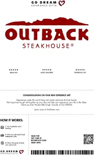 Outback Steakhouse Experience - GO DREAM Gift Card- Sent in a Gift Package