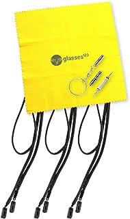 Peeper Keepers Eyeglass Retainer| Leather Sunglass Holder | Black, 3pk | w/Microfiber Cloth & Screwdriver