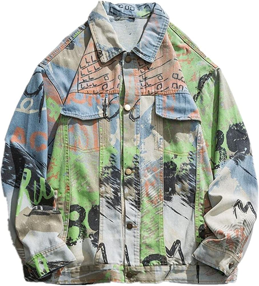 Men's We OFFer at cheap prices Hip Hop Graffiti Denim Streetwea Jacket Over Front Weekly update Jackets