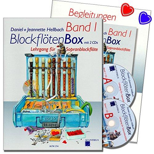 BLOCKFLÖTENBOX Band 1 mit 2 CDs und Klavierbegleitung - Sopranblockflötenlehrgang für Kinder von Daniel Hellbach - Überarbeitete und verbesserte Neuauflage - 2 X herzförmiger Notenklammer