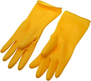 Moligh doll Large Latex Rubber Household Long Gloves - Yellow