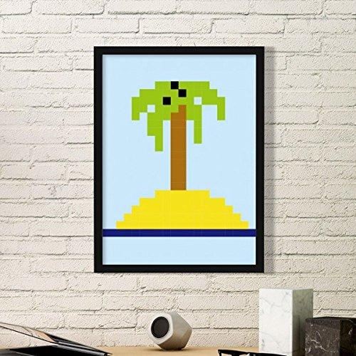 DIYthinker Verano Vela del árbol de Coco Pixel Simple de Fotos Marco de Cuadros Pinturas de la Pared del hogar de la Etiqueta del Regalo Pequeña Negro