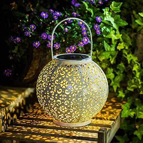 Solarlampe zum hängen Laterne Lampe Solar Kugel aus Edelstahl Wasserdicht Deko Beleuchtung für Garten Wege Terasse, Warm Weiß Solarlicht, 7 Lumen 20cm