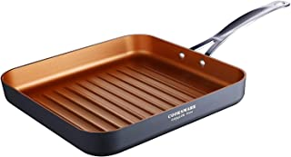 COOKSMARK 10 Inch Nonstick Deep Square Grill Pan, Ribbed Griddle Pan with Stainless Steel Handle, Grilled Pan Oven Safe an...