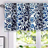 DriftAway Julia Watercolor Blooming Flower Floral Lined Thermal Insulated Window Curtain Valance Rod Pocket 52 Inch by 18 Inch Plus 2 Inch Header Navy 1 Pack