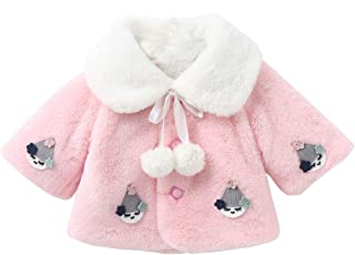 BigForest Baby Infant Girls Coat Faux Fur Long Sleeve Cape Cloak Jackets with cartoon Warm Outwear Winter Clothes