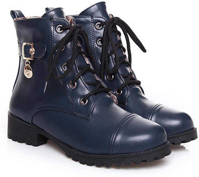 ZHRUI Damenschuhe - Herbst und Winter Niedrige Ferse Spitze Damen Stiefel Martin Stiefel Mode Trend Damenschuhe 37-43 (Farbe   Blau, Gre   EU 40)