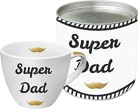 PPD Super Dad Real Gold Porseleinen mok, Koffiekop, Koffiemok, New Bone China, Wit / Zwart / Echt goud, 450 ml, 603066