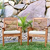 Solid Acacia Wood Patio Chairs (Set of 2) - Brown