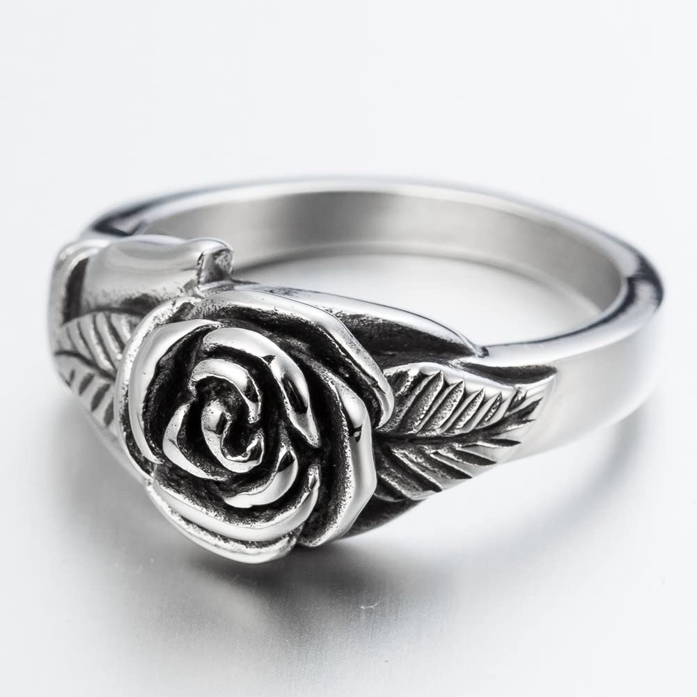Retro Vintage Stainless Steel Flower Rose Promise Statement Cocktail Party Ring