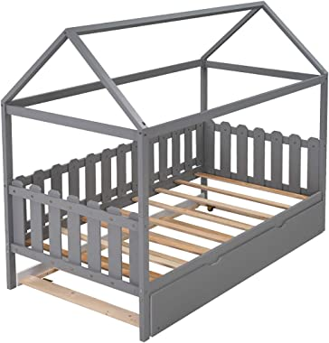 Twin Daybed with Trundle/Fence-Shaped Guardrail/Roof for Kids, Teens, Girls, Boys, Children House Bed Frame Can Be Decorated