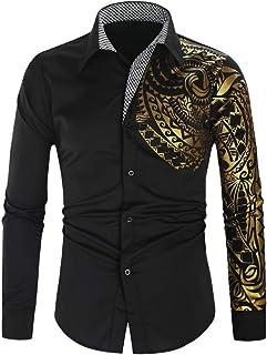 FONMA Men`s Autumn Winter Casual Blouse Collar Button Shirts Print Long Sleeve Top
