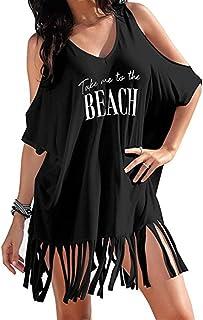 VESNIBA Women's 2018 Letters Print Baggy Tassel Swimwear Bikini Cover-Ups Beach Dress