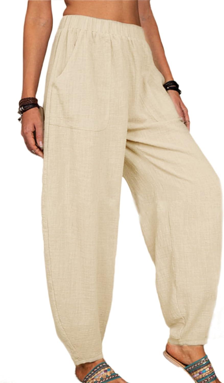 Qiaomai Womens Linen Cotton Cropped Harem Beach Lightweight Tapered Baggy Pants Summer