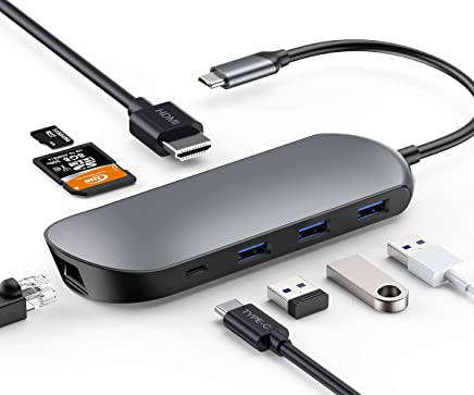 USB C Hub, USB C Adapter, XXBSAZ 8 in 1 Thunderbolt 3 Hub Dongle with 4K HDMI, Type C Charging Port, Ethernet, 3 USB 3.0 Ports, SD TF Card Reader for MacBook Pro 2018 and More USB C Devices, Grey