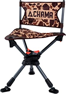 CHAMA Chairs All-Terrain 360° Swivel Hunting/Camping Chair with Ever-Level Telescoping Legs