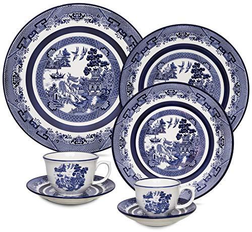 1 Aparelho De Jantar/Chá/Cafezinho 42 Peças Flamingo Blue Willow - Sm42-9409 Oxford Branco/Azul