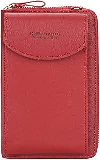 Globeagle Baellerry Girls Solid Leather Clutch Women Long Wallet Card Holder (Red)