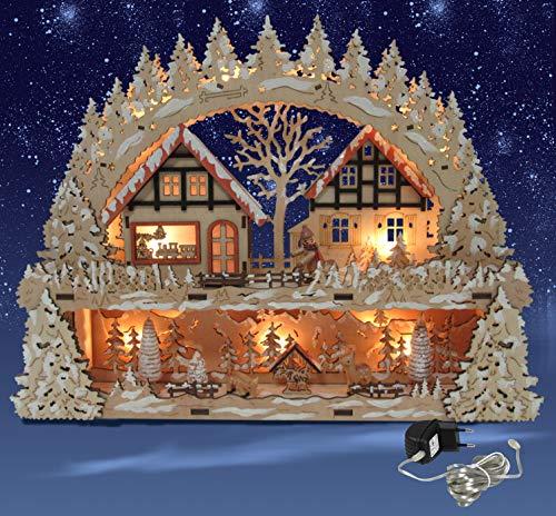 HGS LED-Schwibbogen mit Podest, inkl Trafo Fachwerkhäuser mit Figuren Leuchter Lichterbogen Weihnachten Advent 44x35x9 cm