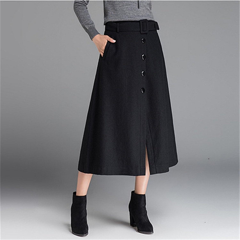 Wolle Rock im Winter Lange tailliertes Kleid brüsten, EIN a - line umfasst Rock Wolle Split Rock,schwarz,m
