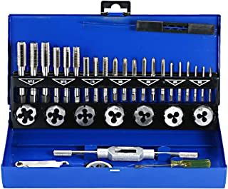 KKmoon 32 PCS HSS Tap and Die Set Metric Wrench Cut M3-M12 Hand Threading Tool Tungsten Carbide Tap Die Screw Thread Making Tool Bit Set Engineer Kit with Metal Case