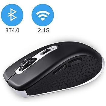 Bluetooth+2.4Gワイヤレスマウス Bluetoothマウス cimetech 無線マウス 2400DPI 高精度 省電力 windows10/XP/vista, mac対応 日本語説明書付き (BT4.0 + 2.4Gデュアルモード, ブラック)