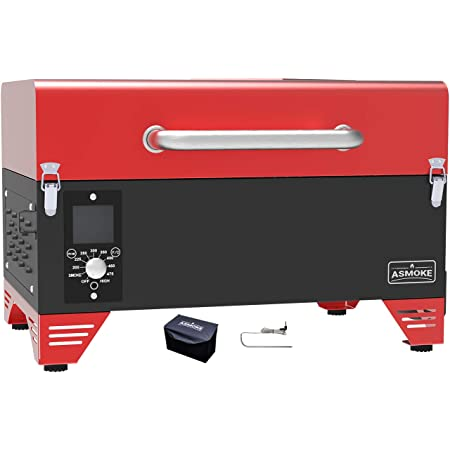 ASMOKE AS300 Electric Portable Wood Pellet Tailgating tabletop Grill and Smoker w/ Waterproof Cover and Stainless Steel Meat Probe,256 Sq. in. Cooking Area,8 in 1 BBQ Set,PID Control, Apple Red