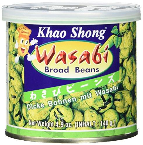 Khao Shong Dicke Bohnen mit Wasabi, knackige Bohnen im scharfem Teigmantel, fettärmere Alternative zu Nüssen, mittlere Schärfe, (1 x 140 g Dose)