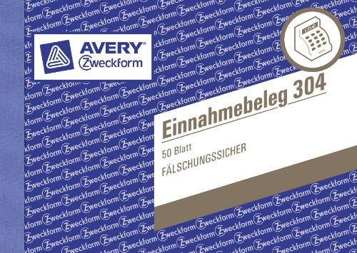 AVERY Zweckform 304-5 Einnahmebeleg mit Dokumentendruck (A6 quer, von Rechtsexperten geprüft, für Deutschland zur ordnungsgemäßen, kostengünstigen Buchführung, 50 Blatt) 5er Pack grün
