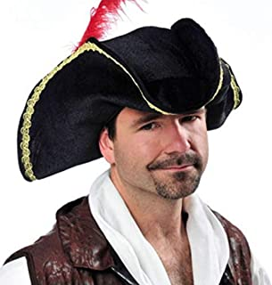 AMSCAN Black Buccaneer Pirate Hat Halloween Costume Accessories, One Size