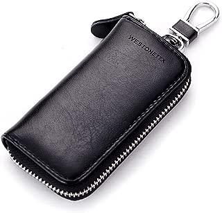 Unisex Mens Womens Premium Leather Car Key Holder Bag Keychain Case Wallet with 6 Hooks Zipper Closure
