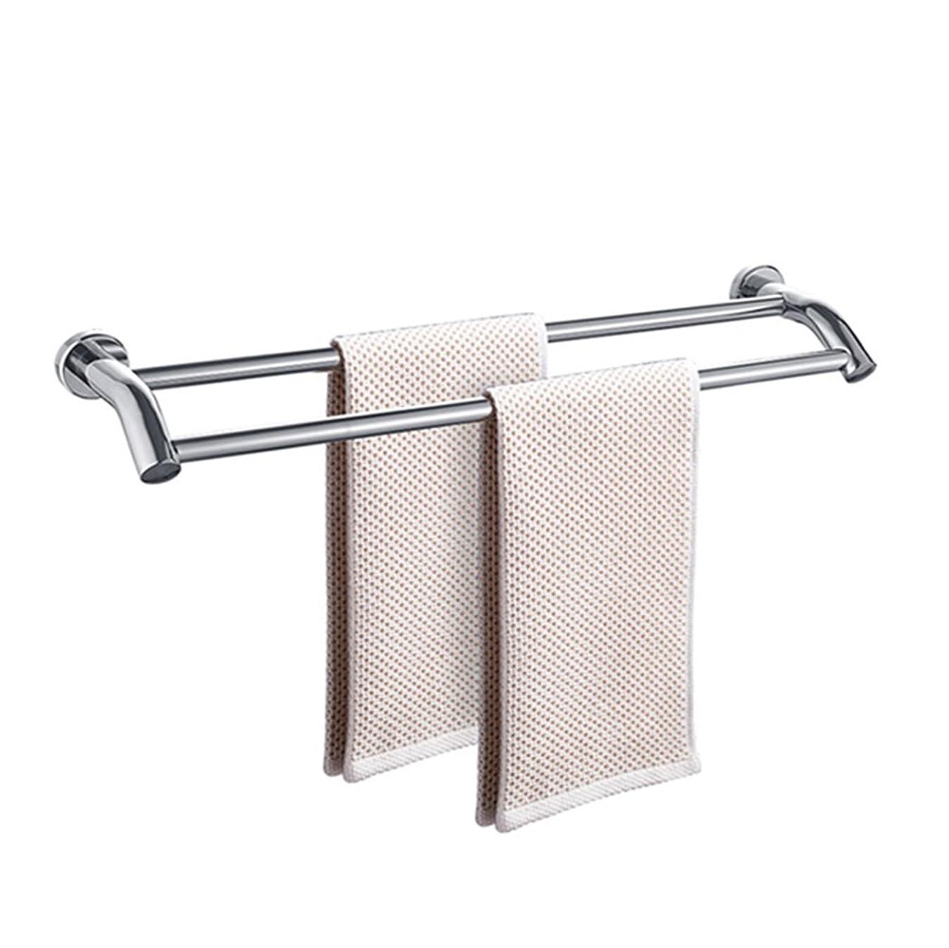 テーブルを設定する啓示不平を言うLXF タオルバーバスルーム304ステンレスタオルレールバスタオルラック壁掛けダブルポール接着剤または穴あき (Size : 80*14.3cm)