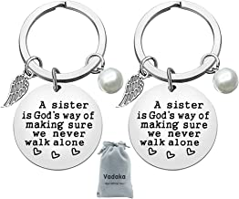 Sister Gift from Sister,A Sister is God's Way of Making Sure We Never Walk Alone Sisters Keychain Best Friend Keychain Christmas Birthday Graduation Jewelry Gifts for Sisters/Teens/Girls(2 Pack)
