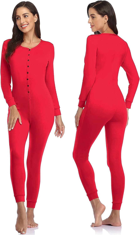 COLORFULLEAF Women's Cotton Thermal Underwear Union Suits Long Onesie Pajamas Base Layer, Butt Flap PJ's Loungewear