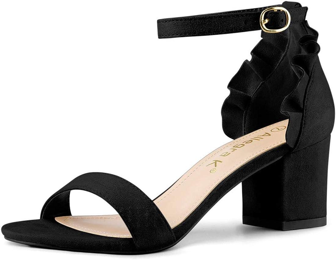Allegra K Women's Ruffle Ankle Strap Block Heel Sandals