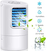 Humidifier Air Conditioner Fan, Small Desktop Fan 3 Degree Changeable Angle Adjustable Compact Super Quiet Personal Table Fan Mini Evaporative Air Circulator Cooler Humidifier