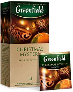 GREENFIELD CHRISTMAS MYSTERY   BEUTEL Schwarztee   Aromatisierter schwarzer Tee aus Kenia   mit Zimt Anis Ingwer Gewürznelke und Apfel, Orangen- und Zitronengeschmack   25 Teebeutel